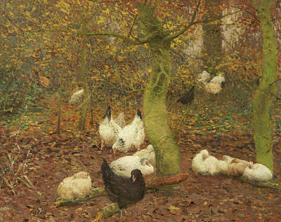 The Hen Painting - Poultry In A Wood by Emile Claus
