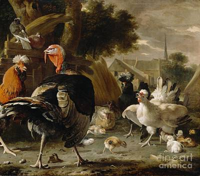 Rooster Painting - Poultry Yard by Melchior de Hondecoeter