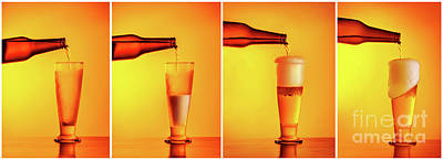 Photograph - Pouring Beer Sequence Collage by Anna Om
