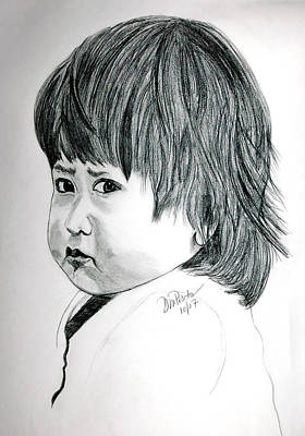 Sad Girl Drawing Drawing - Pouty by Donna Proctor