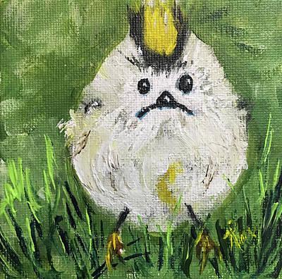 Pouty Panda Bird In The Grass Original