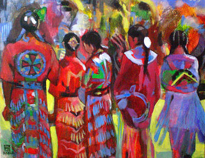 Pow Wow Painting - Pow Wow  by Angeler Tripajayakorn