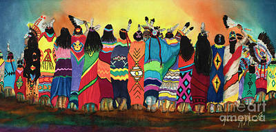 Dancer Mixed Media - Pow Wow Blanket Dancers by Anderson R Moore