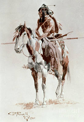 Old West Drawing - Powder Face by Charles Marion Russell