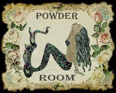 Powder Room Vintage Mermaid Art Print