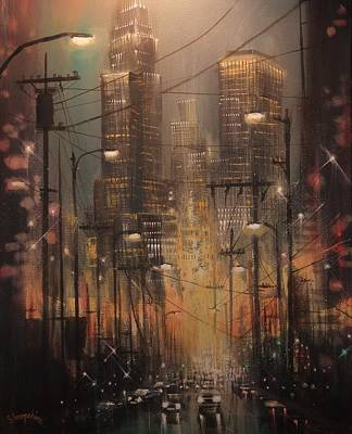 City At Night Painting - Power Center by Tom Shropshire