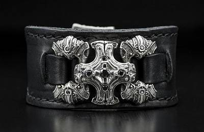 Sterling Silver Drawing - Power Chord Mens Leather Cuff Bracelet by Williamhenry Williamhenry