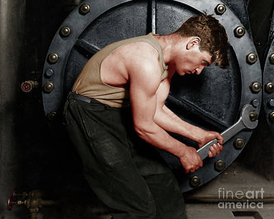 Photograph - Power House Mechanic Working On Steam Pump By Lewis Hine Colorized 20170701 Horizontal by Wingsdomain Art and Photography