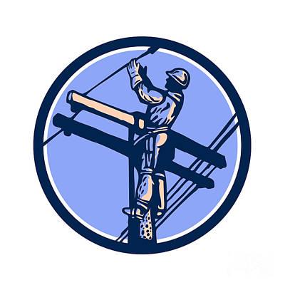 Telephone Poles Digital Art - Power Lineman Repairman Climb Pole Retro Circle by Aloysius Patrimonio