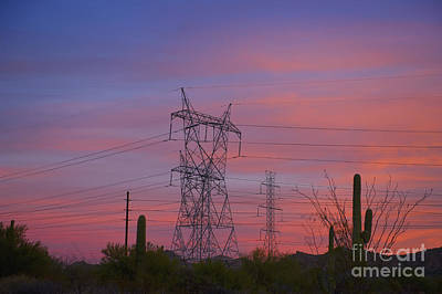 Power Lines In The Desert Art Print by Dave & Les Jacobs