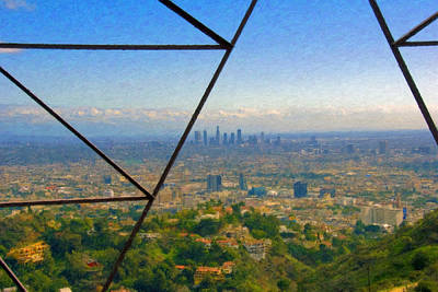 Los Angeles Skyline Photograph - Power Lines Los Angeles Skyline by David Zanzinger