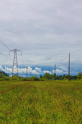 Photograph - Power Lines Sky And Crop by Donna L Munro