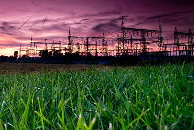 Impressionist Landscapes - Power Lines Sunset by Cale Best