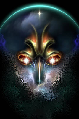 Power Of Elvgren The All Seeing Fractal Portrait Print by Xzendor7