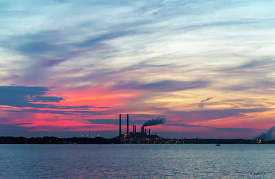 Photograph - Power Plant Sunset by Brian Wallace