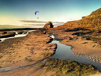 Digital Art - Powered Paraglider Over Bundoran Main Beach At Sunset by John Carver