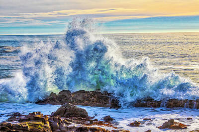 Photograph - Powerful Wave Breaking On Rocks by Garry Gay