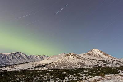 Photograph - Powerline Star Trail With Aurora by Matt Skinner