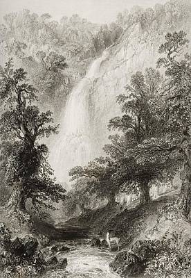 Fall Scenes Drawing - Powerscourt Fall, County Wicklow by Vintage Design Pics