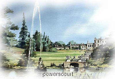 Painting - Powerscourt Fountain by Val Byrne