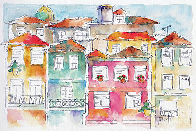 Burned Clay Painting - Praca Da Ribeira Porto by Pat Katz