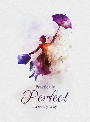 Watercolour Mixed Media - Practically Perfect In Every Way by Rebecca Jenkins