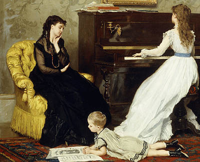 The Music Lesson Painting - Practicing by Gustave Leonard de Jonghe