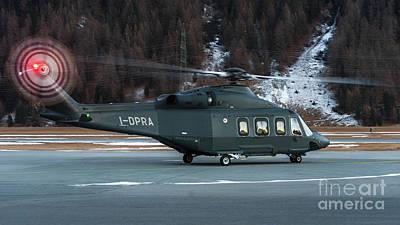 Prada Helicopter At St. Moritz Airport Art Print by Roberto Chiartano