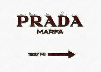 Drawing - Prada Marfa Sign Pencil by Edward Fielding