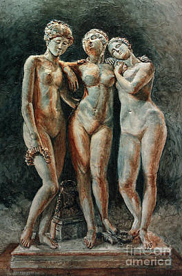 Painting - Pradier's Three Graces- Louvre Museum by Joey Agbayani