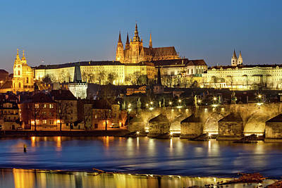 Prague - Charles Bridge And Hradcany Castle Art Print by Frank Chmura