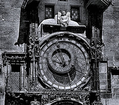 Photograph - Prague Astronomical Clock 2 Bw by C H Apperson