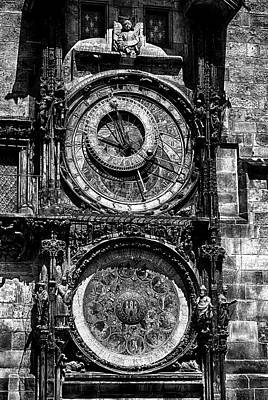 Horologue Photograph - Prague Astronomical Clock Bw by C H Apperson