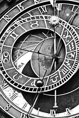 Digital Art - Prague Astronomical Clock Close-up Bw by Mihaela Pater