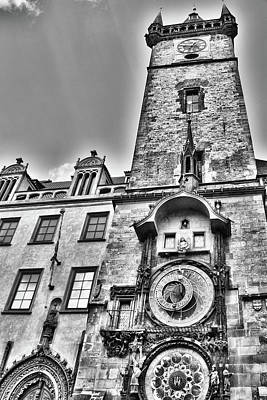 Photograph - Prague Astronomical  Clock Day Bw by Mihaela Pater
