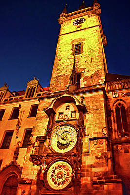 Photograph - Prague Astronomical Clock Night by Mihaela Pater