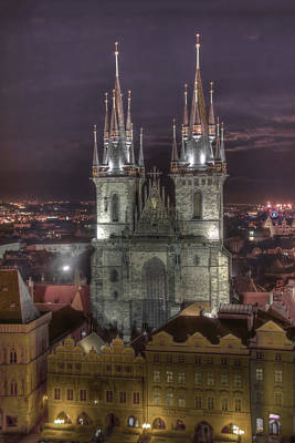 Photograph - Prague At Night by Alan Toepfer
