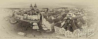 Prague Bird's Eye Panorama Art Print by Prague Art Prints