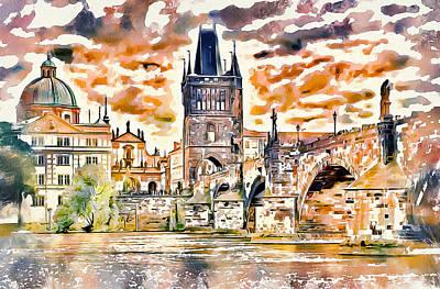 Prague Digital Art - Prague Bridge 2 by Yury Malkov