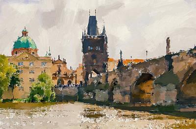 Prague Digital Art - Prague Bridge 3 by Yury Malkov
