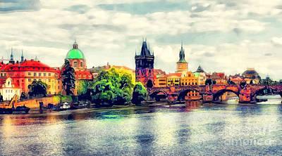 Praha Painting - Prague Bridge Watercolor by Justyna JBJart