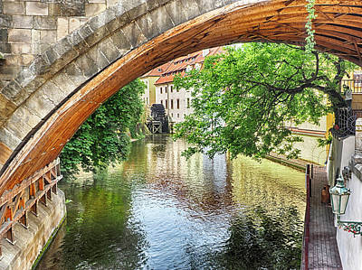 Photograph - Prague Canal Bridge And Mill by C H Apperson