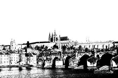 Czech Digital Art - Prague Castle And Charles Bridge by Michal Boubin