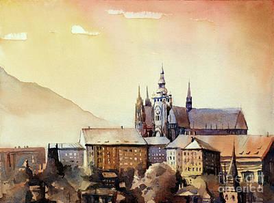 Painting - Prague Castle At Sunset- Czech Republic by Ryan Fox