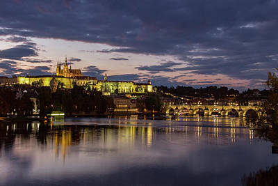 Photograph - Prague Castle, Night View by Yelena Rozov
