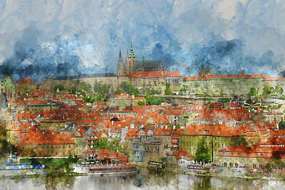 Czech Digital Art - Prague Castle With Famous Charles Bridge In Czech Republic by Brandon Bourdages