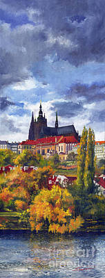 Prague Castle Painting - Prague Castle With The Vltava River by Yuriy  Shevchuk