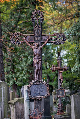Photograph - Prague Cemetery Cross by Stuart Litoff