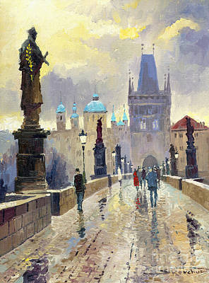 Cityscape Painting - Prague Charles Bridge 02 by Yuriy  Shevchuk