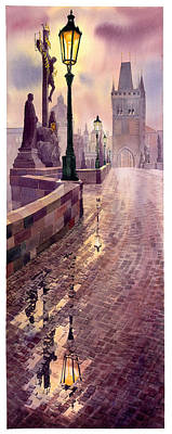 Charles Bridge Painting - Prague Charles Bridge Night Light by Yuriy  Shevchuk